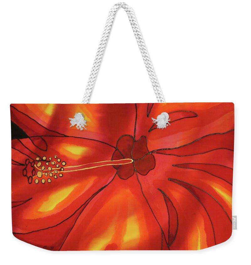 Belize Weekender Tote Bag featuring the painting Red Hibiscus 1 by Lee Vanderwalker