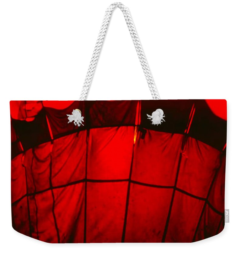 Balloon Weekender Tote Bag featuring the photograph Red Hot Air Balloon by Thomas Marchessault
