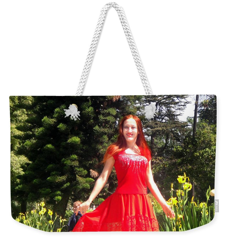 Red Weekender Tote Bag featuring the photograph Red Hot - Ameynra Fashion By Sofia Metal Queen. by Sofia Metal Queen