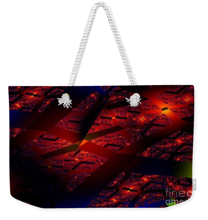 Clay Weekender Tote Bag featuring the digital art Red Hot Confetti by Clayton Bruster