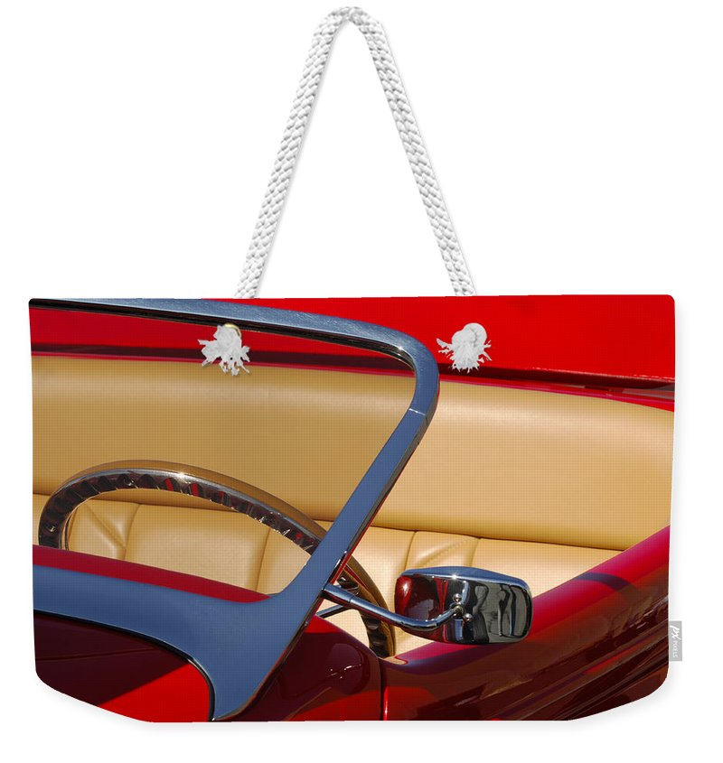 Car Weekender Tote Bag featuring the photograph Red Hot Rod by Jill Reger