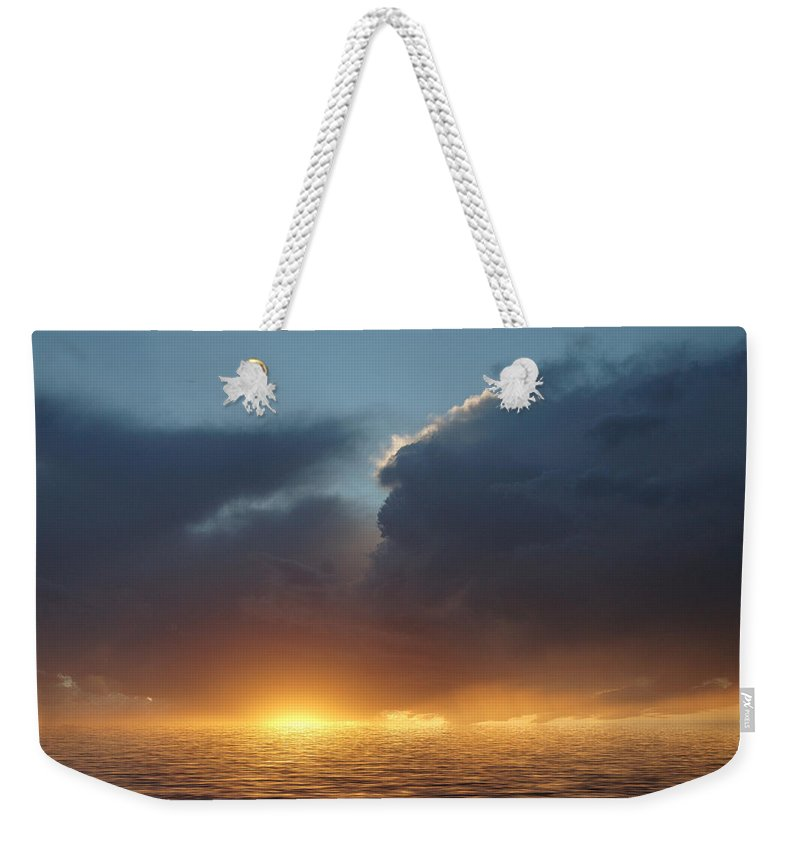 Original Art Weekender Tote Bag featuring the photograph Red In The Morning by Jerry McElroy