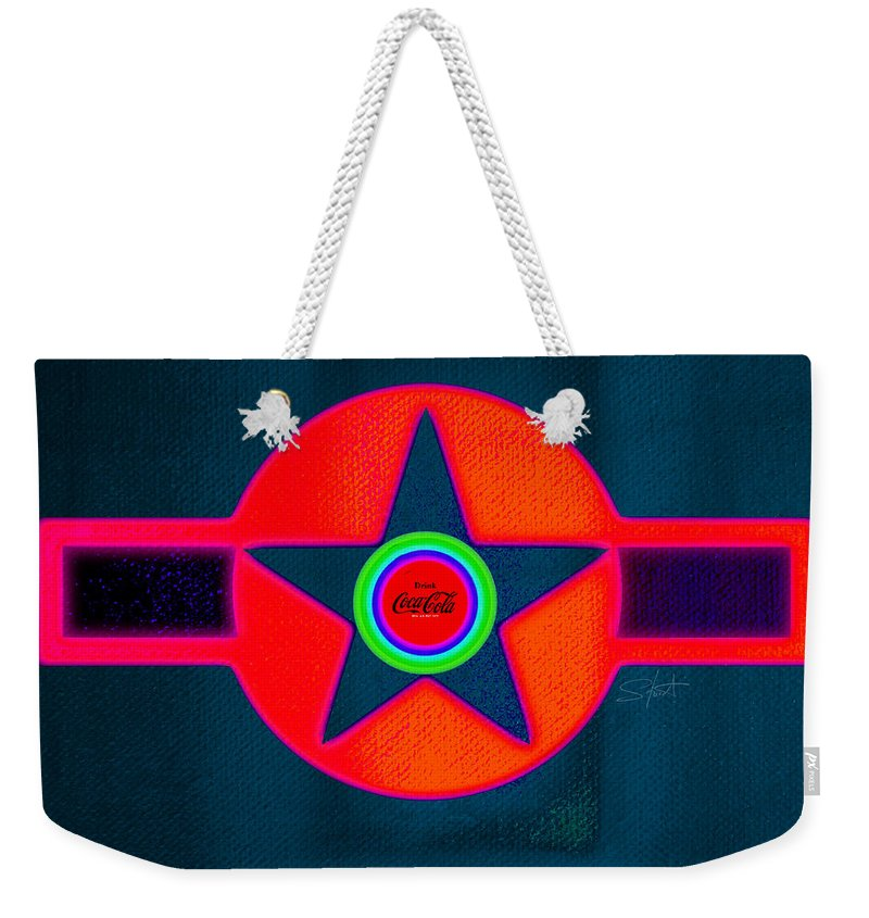 Usaaf Weekender Tote Bag featuring the painting Red Intense by Charles Stuart