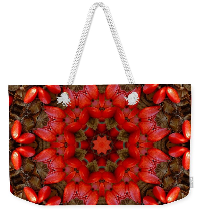 Kaleidoscope Weekender Tote Bag featuring the digital art Red Kaleidoscope No. 1 by Lyle Hatch