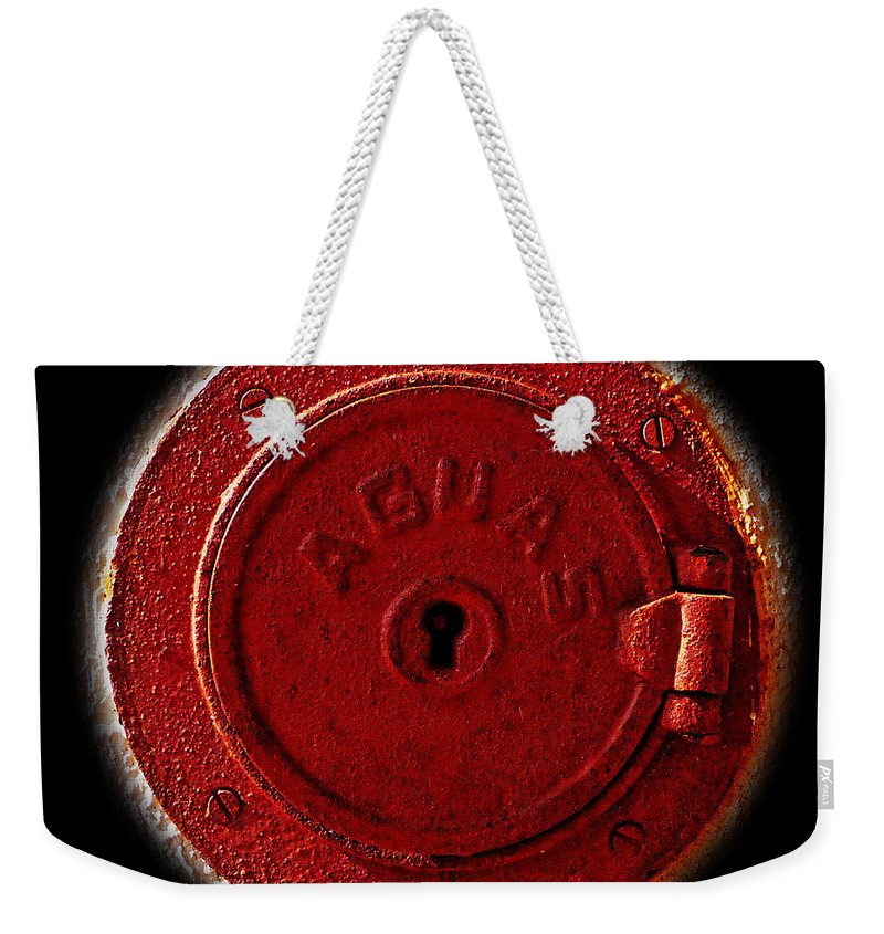 Manhole Weekender Tote Bag featuring the photograph Red Lake by Charles Stuart