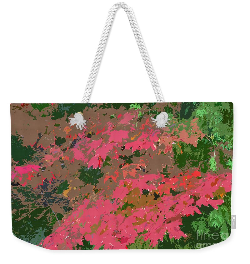 Red Weekender Tote Bag featuring the photograph Red Leafs Work Number 12 by David Lee Thompson