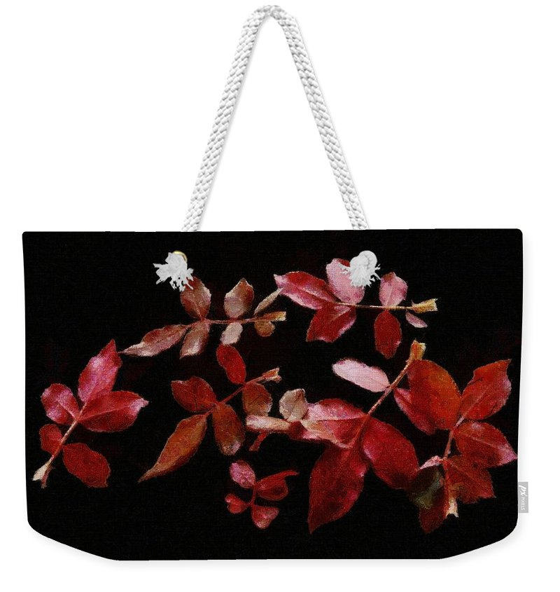 Autumn Weekender Tote Bag featuring the painting Red Leaves by Jeffrey Kolker