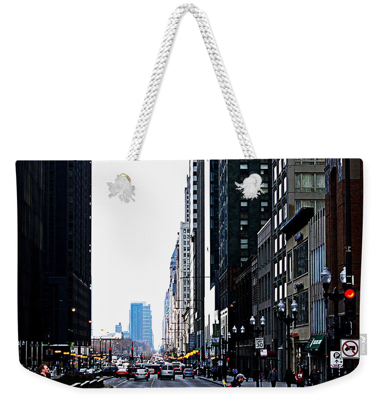 Frank J Casella Weekender Tote Bag featuring the photograph Red Lights - City Of Chicago by Frank J Casella