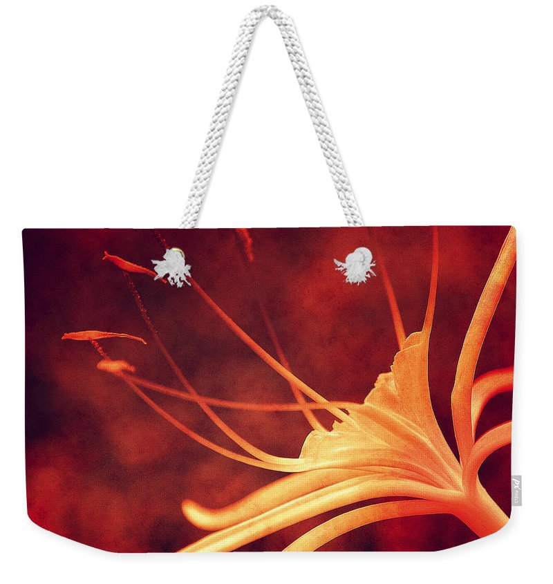 Lilly Weekender Tote Bag featuring the photograph Red Lilly by Susanne Van Hulst