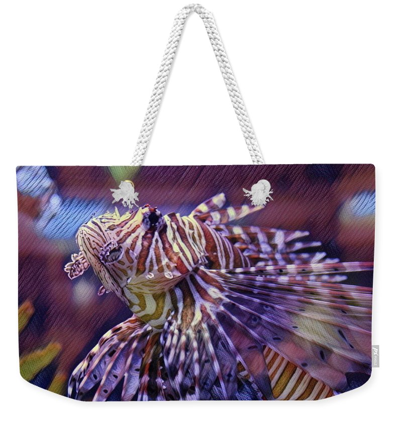 Red Lionfish Weekender Tote Bag featuring the photograph Red Lionfish Art by Selena Wagner