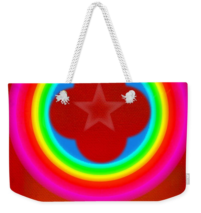 Landscape Weekender Tote Bag featuring the painting Red Logo by Charles Stuart