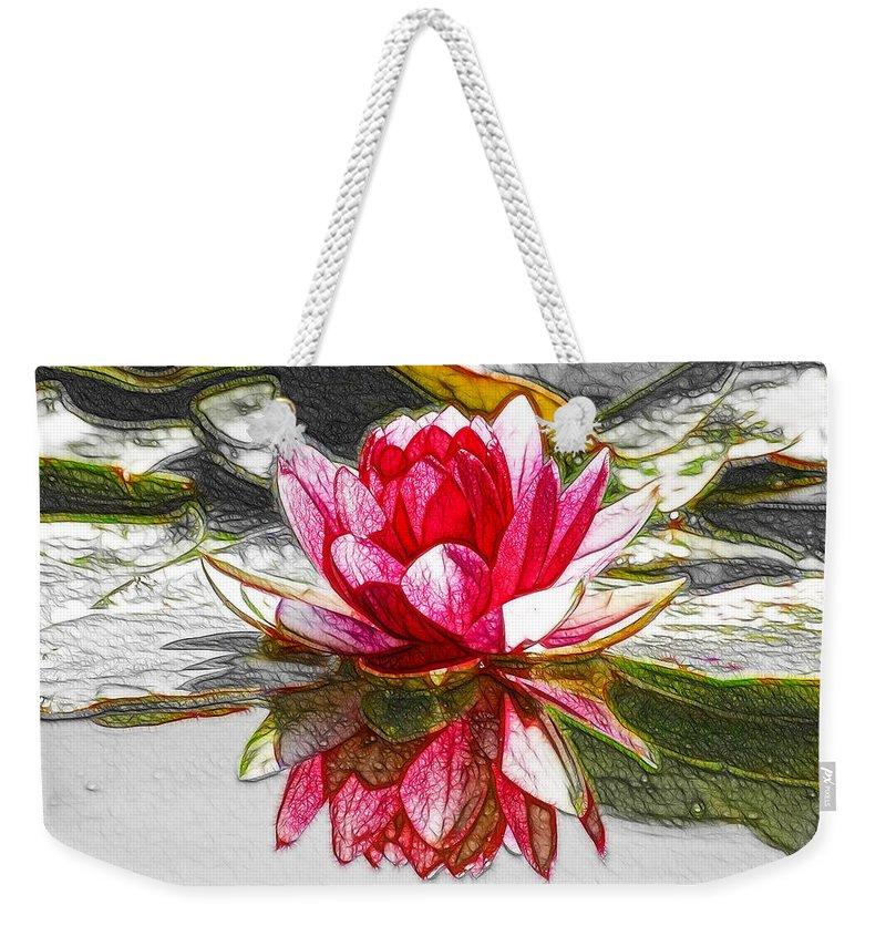 Red Lotus Flower Weekender Tote Bag featuring the painting Red Lotus Flower by Jeelan Clark