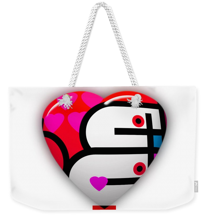 Ubabe Brand Weekender Tote Bag featuring the painting Red Love Heart by Charles Stuart