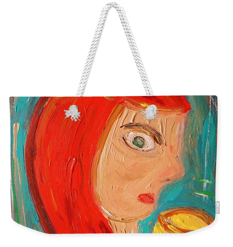 Red Weekender Tote Bag featuring the painting Red Madonna by Mary Carol Williams