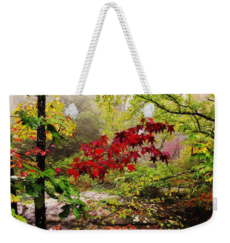 Rock City Weekender Tote Bag featuring the photograph Red Maples by Lori Mahaffey