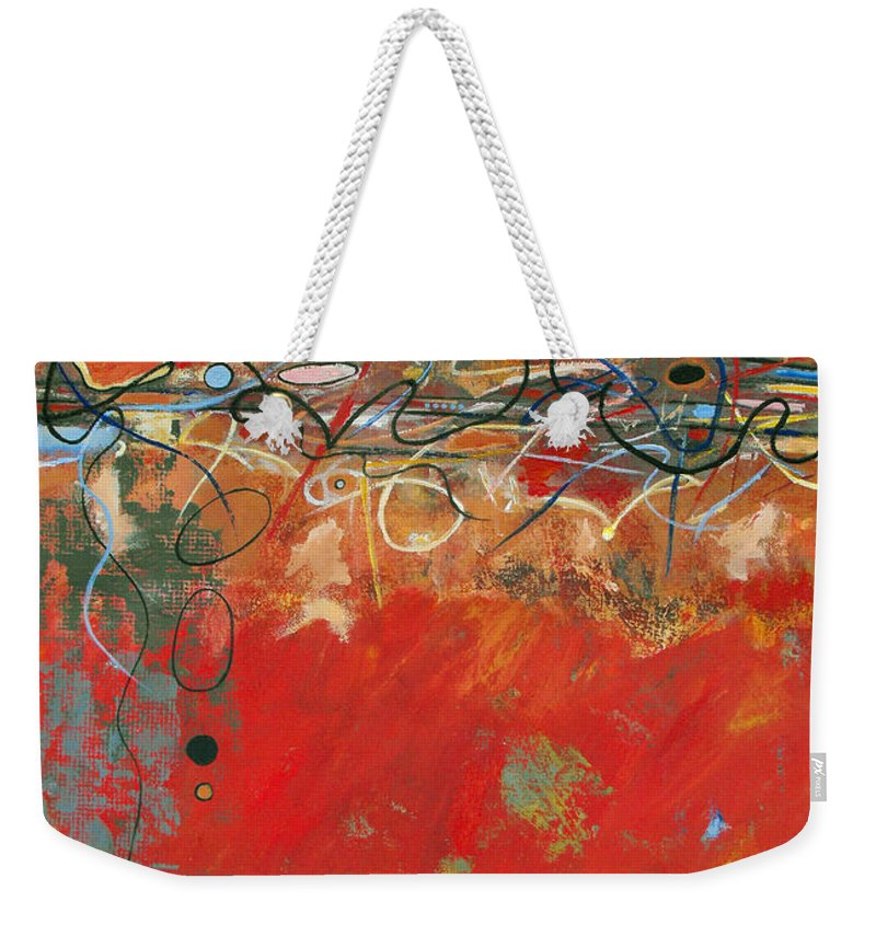 ruth Palmer Abstract Gestural Color Red Painting Acrylic Black Orange Blue Yellow Green Decorative Weekender Tote Bag featuring the painting Red Meander by Ruth Palmer