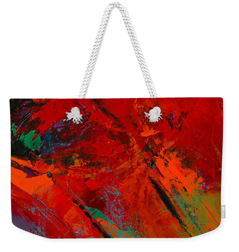 Red Mood Weekender Tote Bag featuring the painting Red Mood by Elise Palmigiani