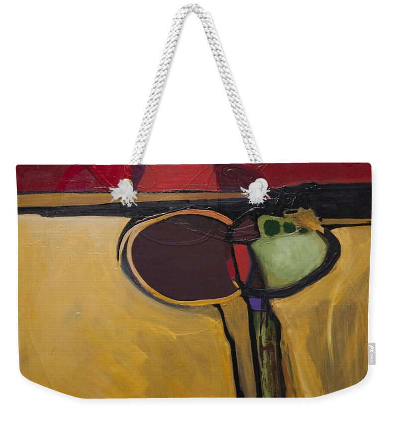 Abstract Weekender Tote Bag featuring the painting Red Moon Rising by Marlene Burns