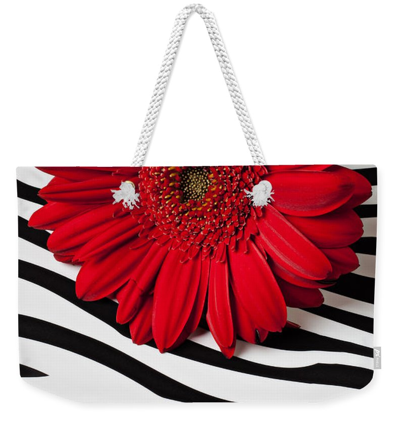 Red Weekender Tote Bag featuring the photograph Red Mum And Red Lips by Garry Gay