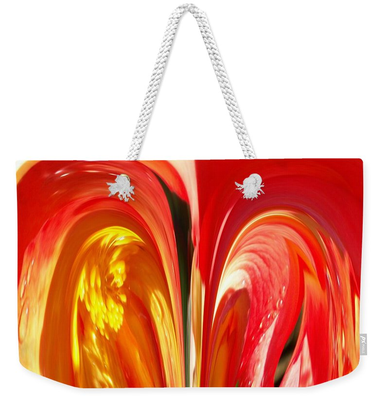 Flowers Weekender Tote Bag featuring the photograph Red N Yellow Flowers 4 by Tim Allen