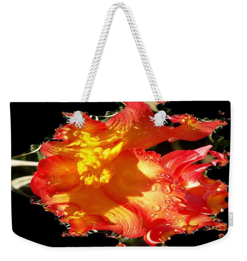 Flowers Weekender Tote Bag featuring the digital art Red N Yellow Flowers by Tim Allen