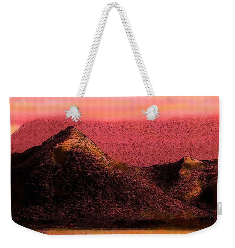 Mountains Weekender Tote Bag featuring the digital art Red Nevis by Ian MacDonald