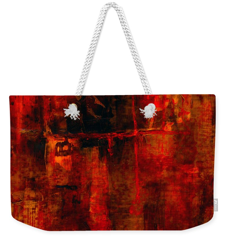 Abstract Painting Weekender Tote Bag featuring the painting Red Odyssey by Pat Saunders-White