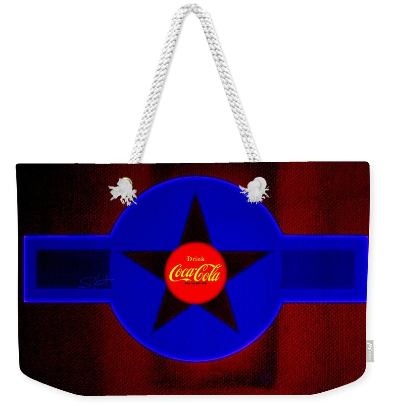 Label Weekender Tote Bag featuring the painting Red On Red With Blue by Charles Stuart