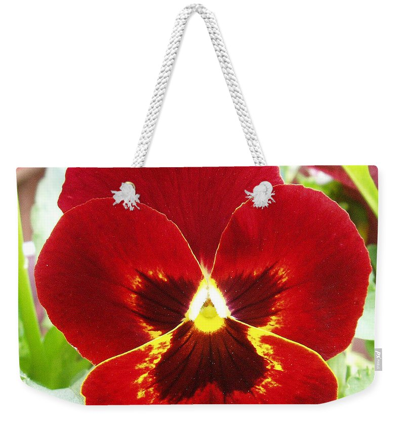 Red Weekender Tote Bag featuring the photograph Red Pansy by Nancy Mueller
