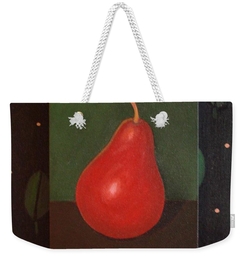 Pear Weekender Tote Bag featuring the painting Red Pear by Helena Tiainen