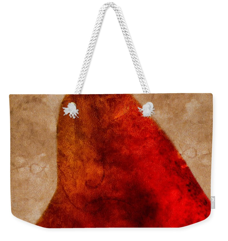 Pear Weekender Tote Bag featuring the photograph Red Pear II by Carol Leigh