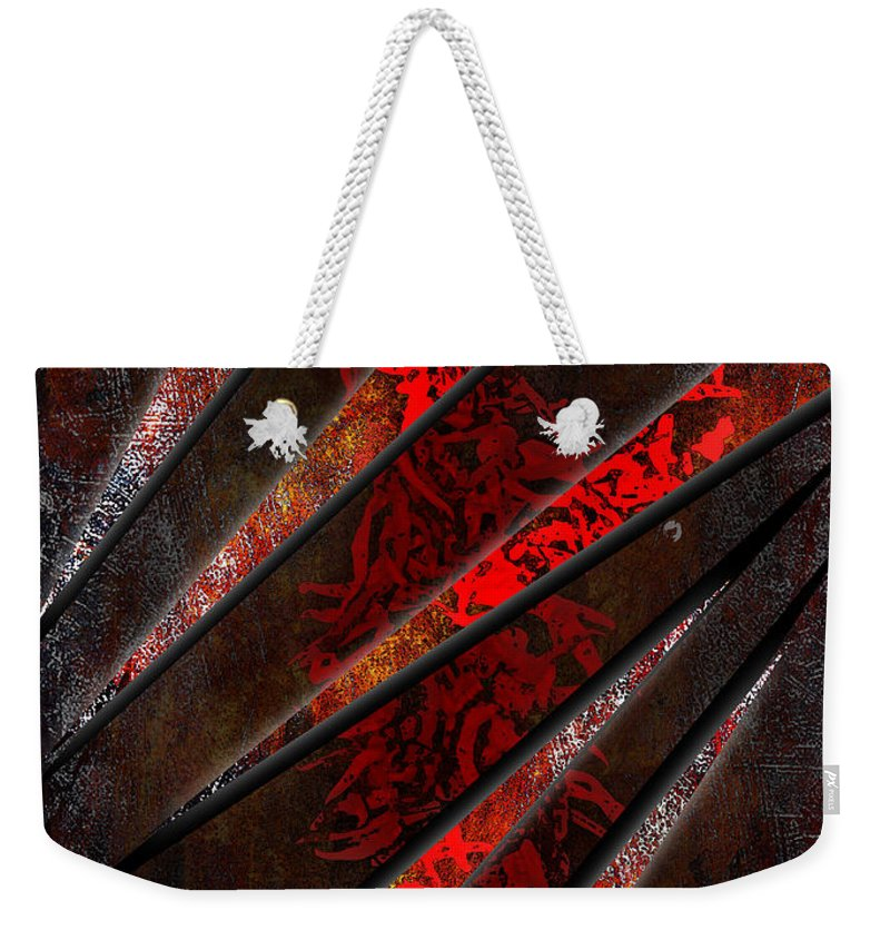 3d Weekender Tote Bag featuring the digital art Red Pepper Abstract by Svetlana Sewell