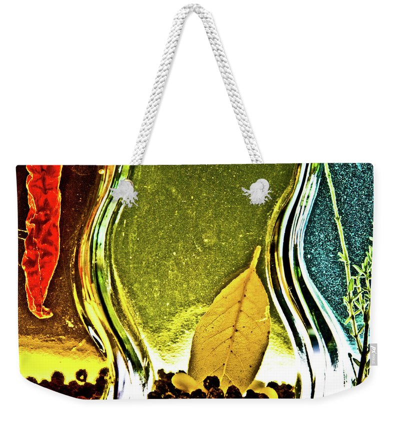 Red Pepper Weekender Tote Bag featuring the photograph Red Pepper Bay Leaf And Thyme by Onyonet Photo Studios