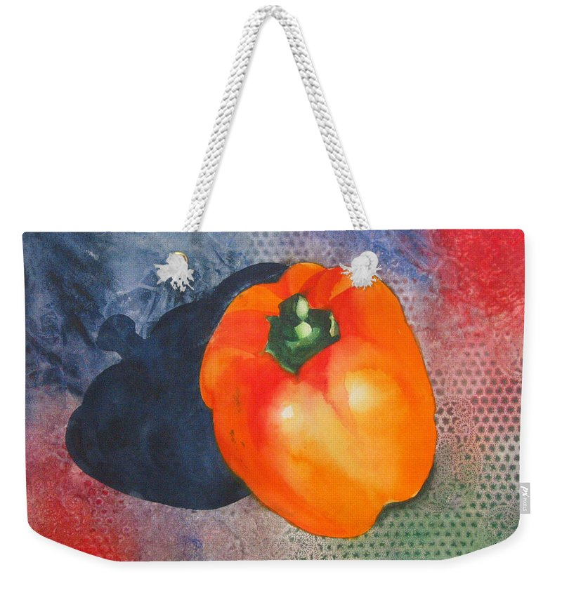 Pepper Weekender Tote Bag featuring the painting Red Pepper Solo by Jean Blackmer