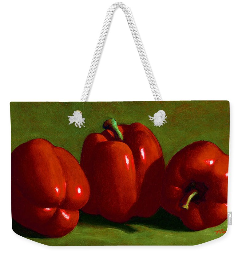 Red Peppers Weekender Tote Bag featuring the painting Red Peppers by Frank Wilson