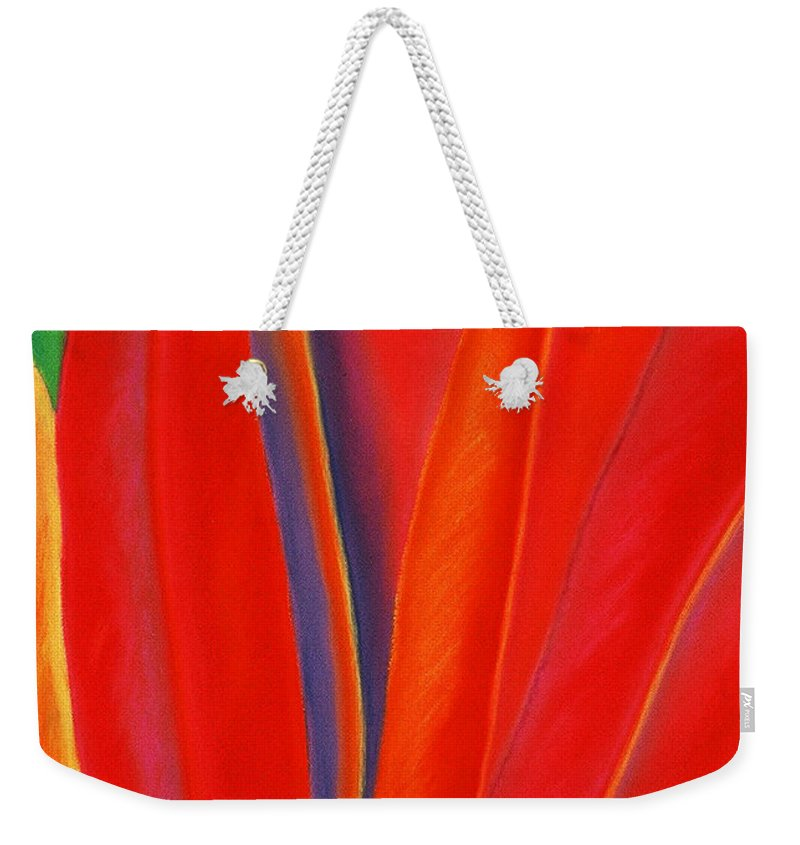 Red Weekender Tote Bag featuring the painting Red Petals by Lucy Arnold