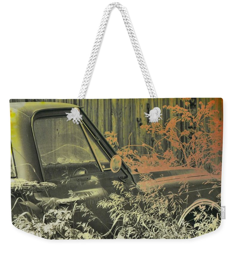 Red Weekender Tote Bag featuring the photograph Red Pickup by JAMART Photography