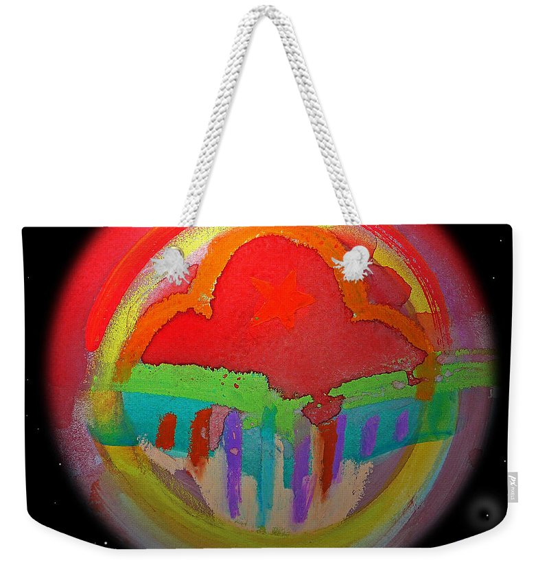 Landscape Weekender Tote Bag featuring the painting Red Planet by Charles Stuart