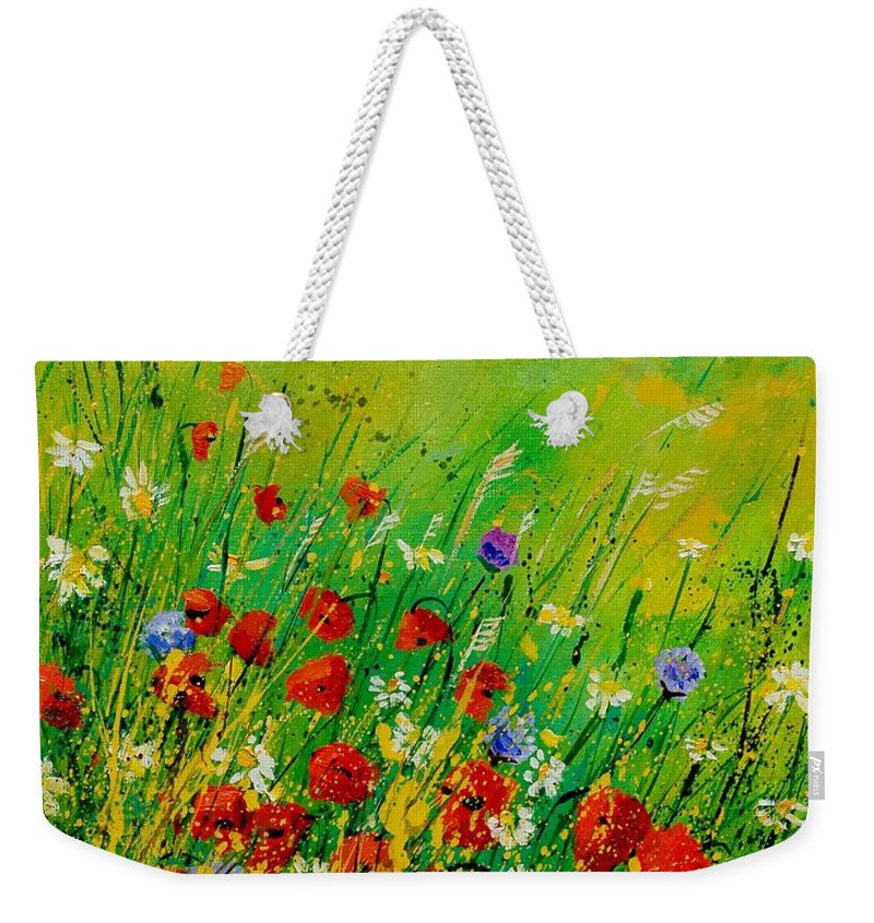 Flowers Weekender Tote Bag featuring the painting Red Poppies 450708 by Pol Ledent