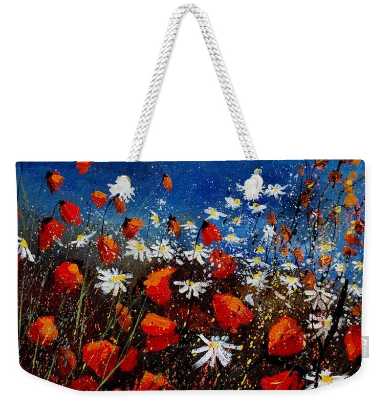 Flowers Weekender Tote Bag featuring the painting Red Poppies 451108 by Pol Ledent
