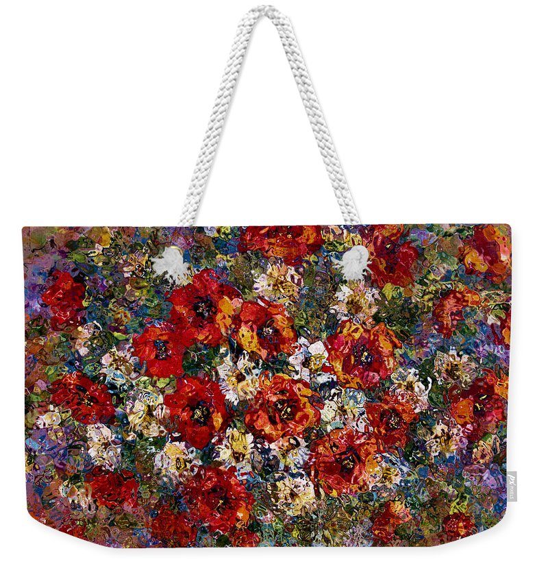 Flowers Weekender Tote Bag featuring the mixed media Red Poppies Bouquet by Natalie Holland