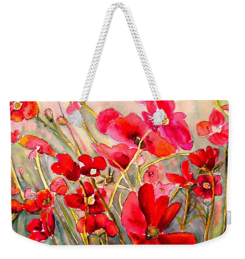 Poppies Weekender Tote Bag featuring the painting Red Poppies by Carole Spandau