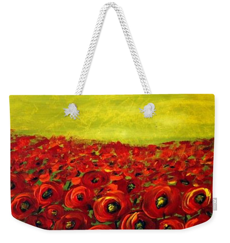 Flowers Weekender Tote Bag featuring the painting Red Poppies Field by Luiza Vizoli