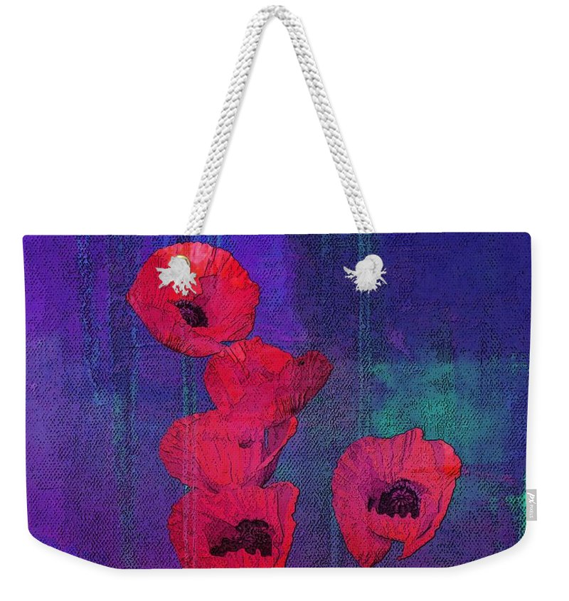 Red Poppies Weekender Tote Bag featuring the mixed media Red Poppies by I'ina Van Lawick