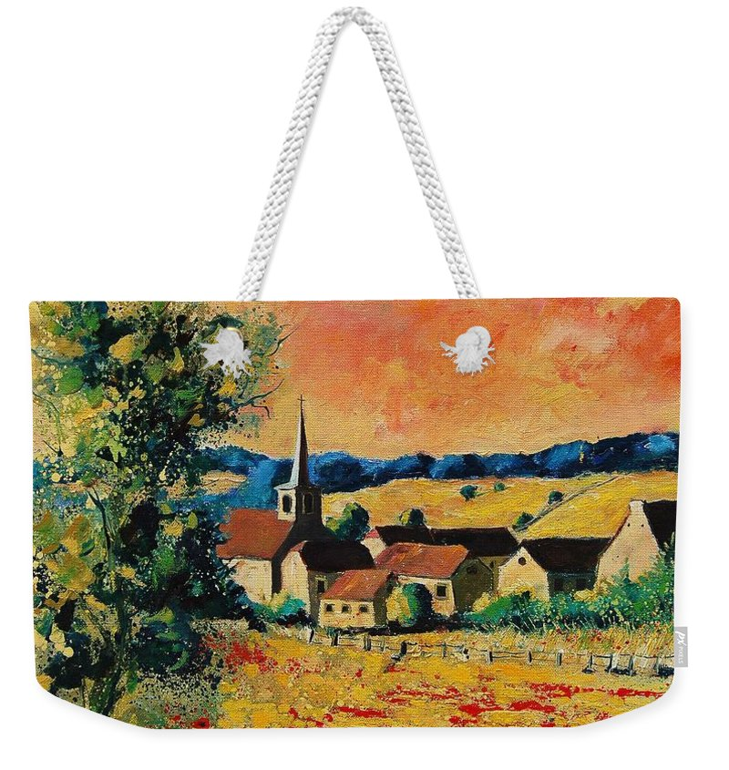 Poppies Weekender Tote Bag featuring the painting Red Poppies In Gendron by Pol Ledent