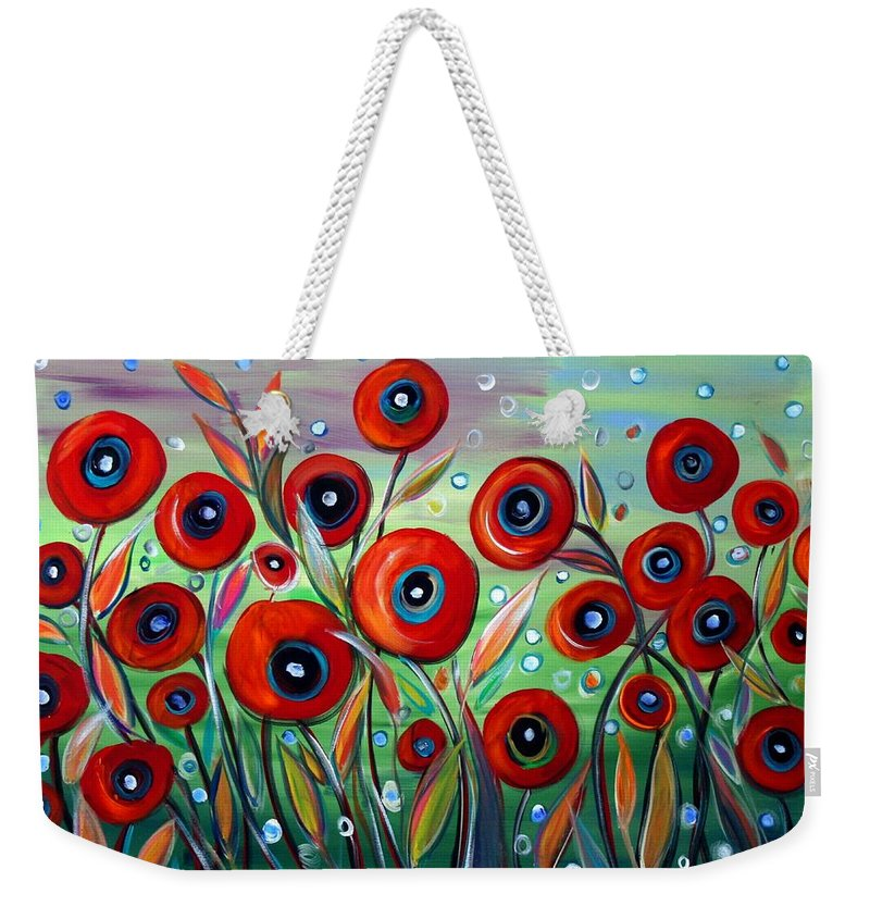 Flowers Weekender Tote Bag featuring the painting Red Poppies In Grass by Luiza Vizoli