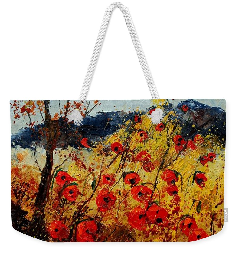Poppies Weekender Tote Bag featuring the painting Red Poppies In Provence by Pol Ledent