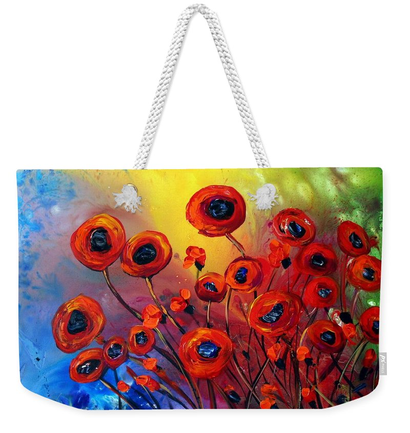 Flowers Weekender Tote Bag featuring the painting Red Poppies In Rain by Luiza Vizoli