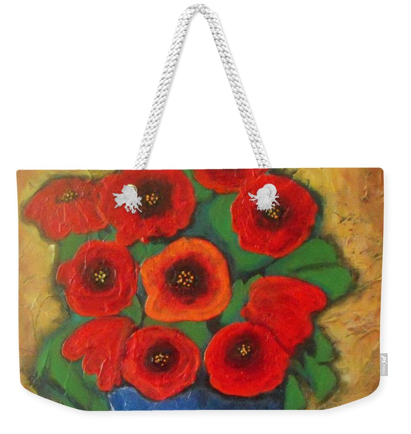 Poppies Weekender Tote Bag featuring the painting Red Poppies In Blue Vase by Vesna Antic