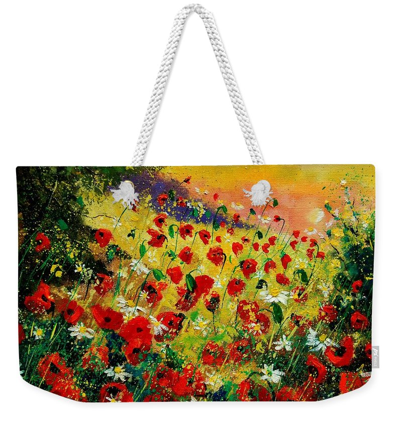 Tree Weekender Tote Bag featuring the painting Red Poppies by Pol Ledent